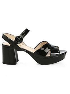 571e65f027a17 QUICK VIEW. Prada. Crisscross Patent Leather Platform Sandals