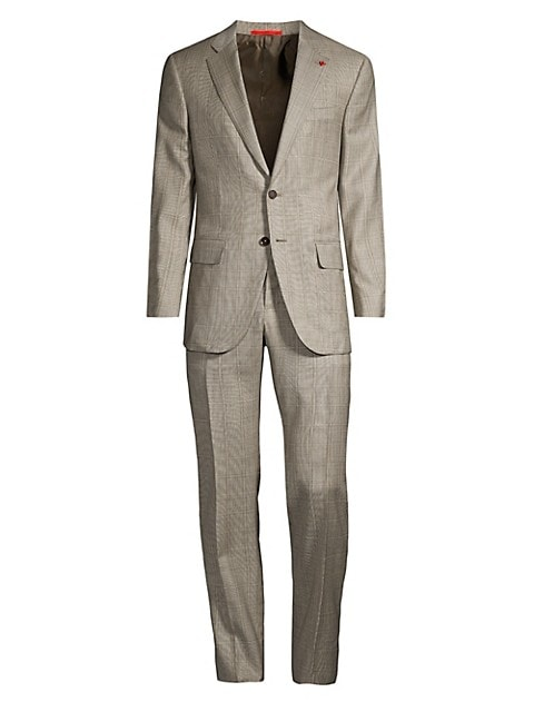 Single-Breasted Windowpane Wool Suit