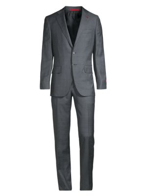 Isaia Windowpane Wool Silk Suit