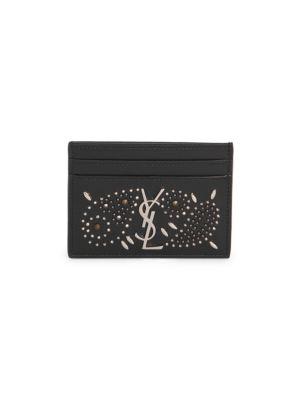 Saint Laurent Leathers Vintage Monogram Embellished Leather Card Case