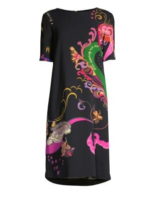 Dream Dance Paisley Short-Sleeve Sheath Dress in Black