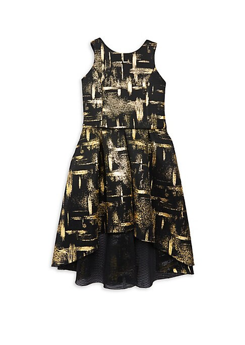 Image of High-low flared gown with painterly abstract design. Roundneck. Sleeveless. Back zip closure. Polyester. Dry clean. Made in USA.