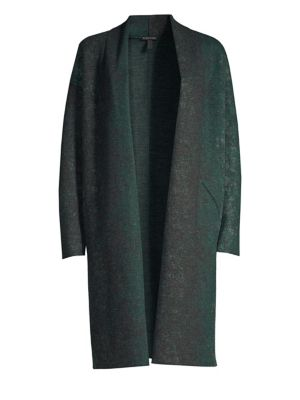 Oxidized Boiled Wool Long Kimono Coat W/ Side Slits, Plus Size, Pine