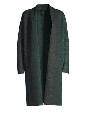EILEEN FISHER Oxidized Boiled Wool Long Kimono Coat W/ Side Slits, Plus Size in Green