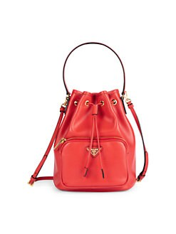 e581d1b0a77c98 Prada. Leather Bucket Bag