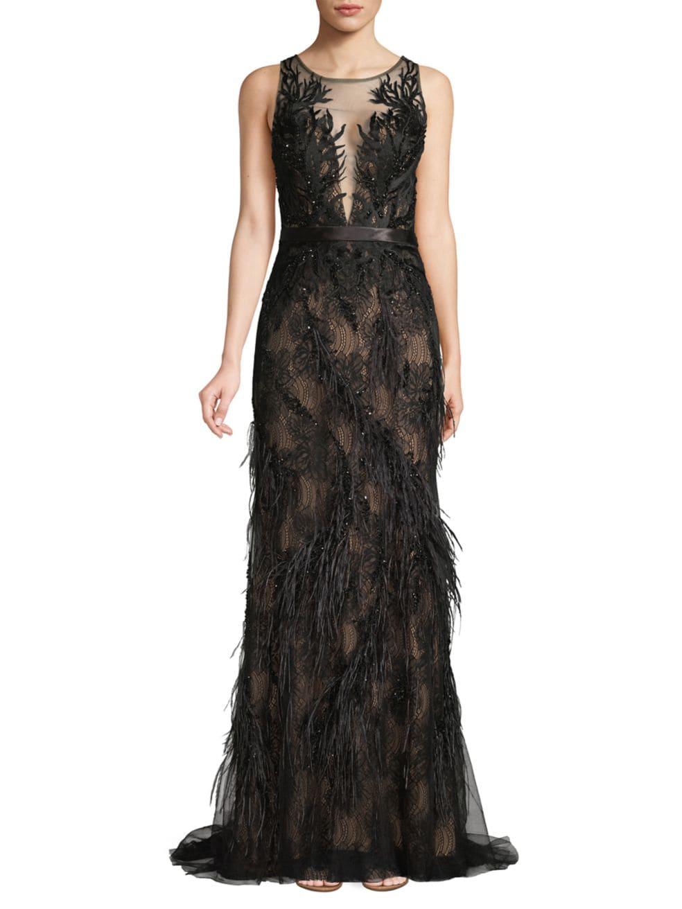 Basix Black Label Lace & Feather Trim Column Dress   SaksFifthAvenue