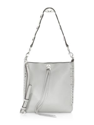 Small Darren Pebbled Leather Feed Bag in Grey