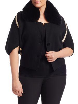 MARINA RINALDI Marilena Cashmere-Blend Fox Fur-Trimmed Cardigan in Black