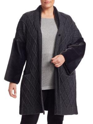 MARINA RINALDI Miceneo Faux Fur-Trimmed Cabled Cardigan in Dark Grey