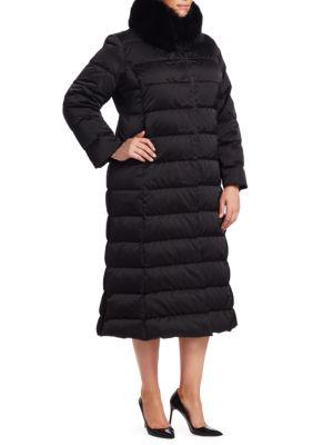 MARINA RINALDI Quilted Collar Coat in Black
