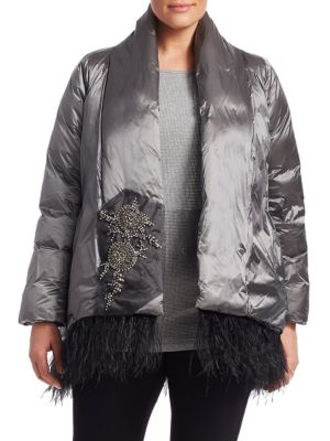 MARINA RINALDI Parco Feather-Trimmed Embellished Jacket in Light Grey