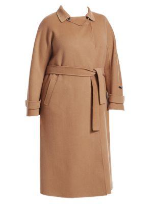 MARINA RINALDI Trionfo Wrap Camel Coat