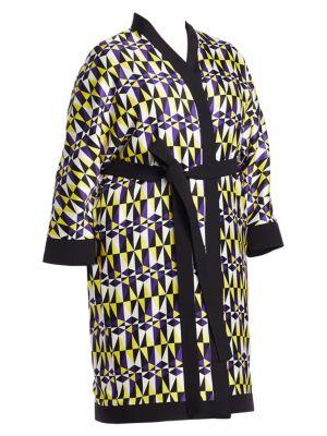 MARINA RINALDI Fausto Puglisi X Marina Rinaldi Fedelta Geometric Print Kimono Jacket in Purple