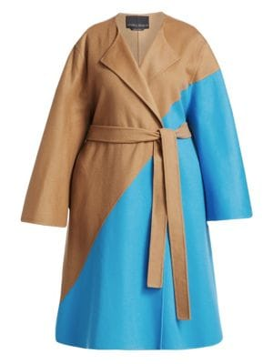 MARINA RINALDI Fausto Puglisi X Marina Rinaldi Telefilm Wool Colorblocked Coat in Camel