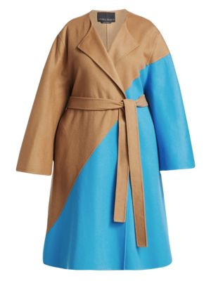 Marina Rinaldi, Plus Size Fausto Puglisi x Marina Rinaldi Telefilm Wool Colorblocked Coat