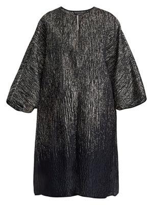 MARINA RINALDI Elegante Festival Silk-Blend & Lurex Jacket in Black