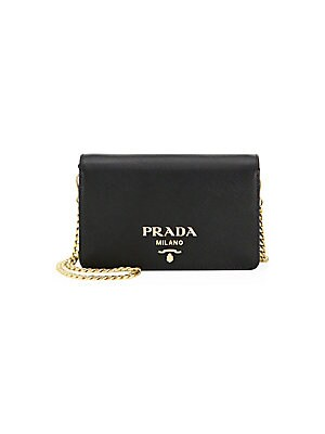 ffcff9230e25 Prada - Diagramme Impunture Leather Chain Wallet - saks.com