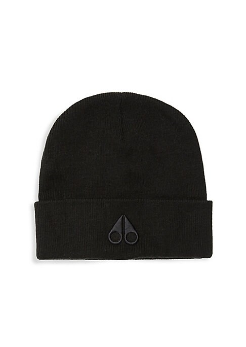 "Image of Knit toque with a debossed logo at the front is a waterproof essential. Merino wool. Dry clean. Imported. SIZE. Brim width, 2.5"".Diameter, 8""."