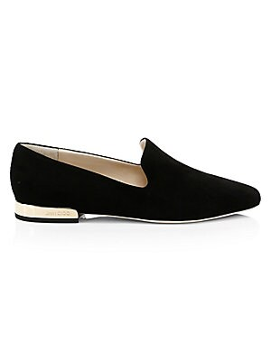 Image of Suede point-toe flats with sleek goldtone hardware. Suede upper Point toe Slip-on style Leather lining Leather/rubber sole Made in Italy. Women's Shoes - Jimmy Choo Womens Shoes. Jimmy Choo. Color: Black. Size: 41 (11).