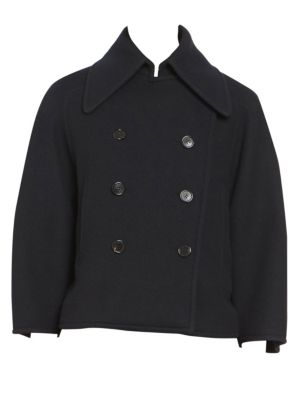 Cropped Double-Breasted Wool-Blend Felt Coat in Navy