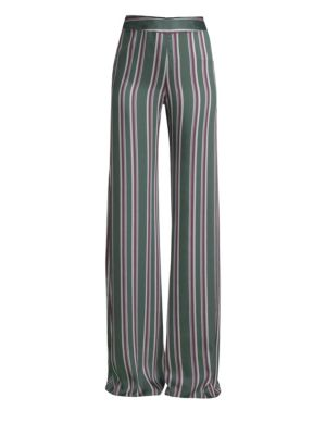 ALEXIS Nieves Stripe Wide Leg Satin Pants in Evergreen Stripes