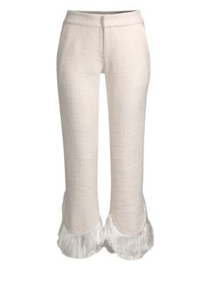 Tatum Crop Flare Fringe Pants, Ivory
