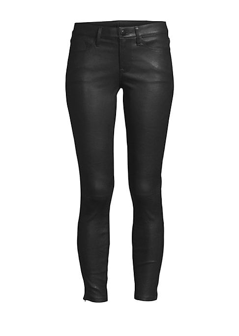 """Image of A lamb leather construction lends these five-pocket skinnies a supple finish. Belt loops. Zip fly with button closure. Five-pocket style. Ankle seam zips. Leather. Dry clean by leather specialist. Imported. SIZE & FIT. Rise, about 8"""".Inseam, about 27"""".Leg"""