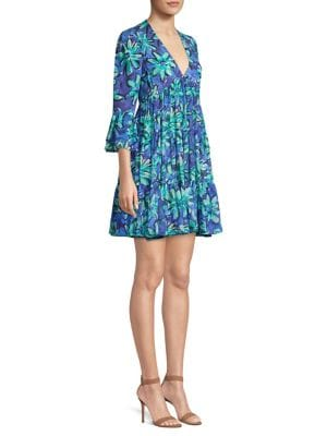 Michael Kors Collection Floral Mini Babydoll Dress