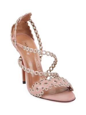 Alaïa Grommet Stiletto Leather Sandals