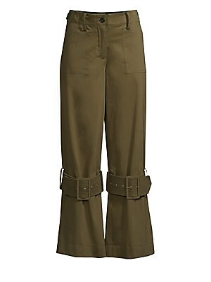 Image of Adjustable buckles lend an industrial vibe to these flare pants. Belt loops with adjustable side tabs Zip fly with button closure Side slash patch pockets Back welt pockets Adjustable tab buckle knee details Cotton/elastane Dry clean Imported SIZE & FIT R