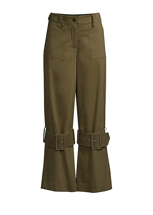 Image of Adjustable buckles lend an industrial vibe to these flare pants. Belt loops with adjustable side tabs. Zip fly with button closure. Side slash patch pockets. Back welt pockets. Adjustable tab buckle knee details. Cotton/elastane. Dry clean. Imported. SIZE