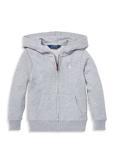Image of This hoodie combines washed French terry with a signature embroidered pony for a wear-anywhere layer that's purely Polo. Attached hood. Long sleeves. Ribbed cuffs and hem. Front zip closure. Split kangaroo pockets. Signature embroidered pony at left chest