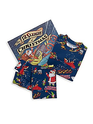 Image of When the elves discover that Santa's sleigh is in a terrible state, they let their imaginations go wild - and soon there are sleighs of every kind, inspired by big rigs, motorcycles, zeppelins and much more! Festive pajama set with matching picture book f