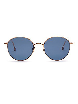 Image of Sleek metal frames highlight these round lenses. Hydrophobic lenses enhance clarity while protecting against water and smudging 100% UV protection Palladium electroplated gold Made in France SIZE Lens width, 53mm Bridge width, 20mm Temple length, 145mm. S