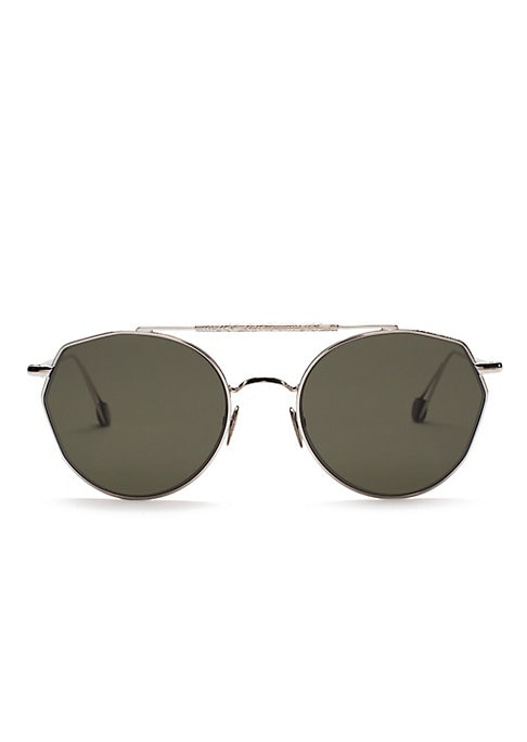 Image of From the Ahlem Collection. Aviator sunglasses flaunt a rugged frame.100% UV protection. Solid green lenses. Case and cleaning cloth included. Gold-plated palladium. Made in France. SIZE.51mm lens width.19mm bridge width.150mm temple length.