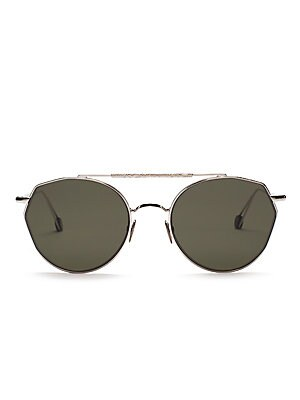 Image of From the Ahlem Collection. Aviator sunglasses flaunt a rugged frame. 100% UV protection Solid green lenses Case and cleaning cloth included Gold-plated palladium Made in France SIZE 51mm lens width 19mm bridge width 150mm temple length. Soft Accessorie -