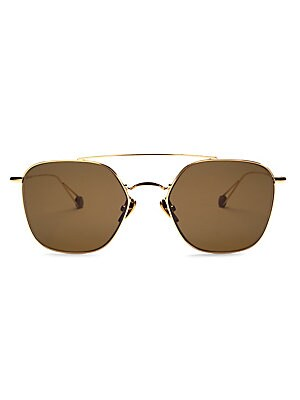 Image of Sleek metal aviators with modern square lenses. Hydrophobic lenses enhance clarity while protecting against water and smudging 100% UV protection Palladium electroplated gold Made in France SIZE Lens width, 54mm Bridge width, 20mm Temple length, 150mm. So