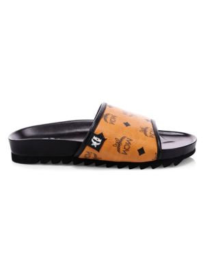 Monogram Faux Leather Slides by Mcm