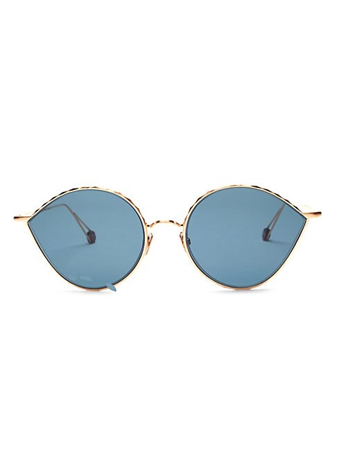 Image of Meticulously crafted eye frames with filigree-engraved temples and signature vintage acetate temple tips.100% UV protection. Solid blue lenses. Titanium nose pads. Case and cleaning cloth included. Palladium electroplated in real gold. Made in France. SIZ