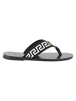 ab47463dd2 Versace. Nastro Leather Thong Sandals