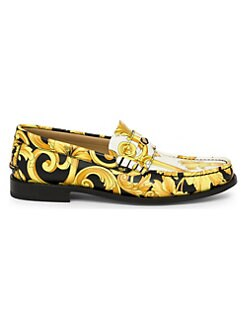 79308038253 Versace. Vitello Leather Printed Loafers