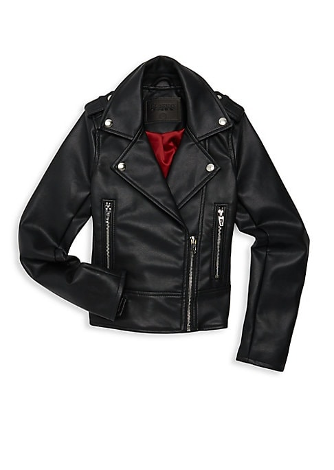 Image of Classic moto styling with a leather-look finish in a mini size for your little one. Notch lapel with snaps. Long sleeves. Zip front. Snap epaulets. Zip cuffs. Waist zip pockets. Waist snap tabs. Polyurethane/viscose. Wipe clean. Imported.