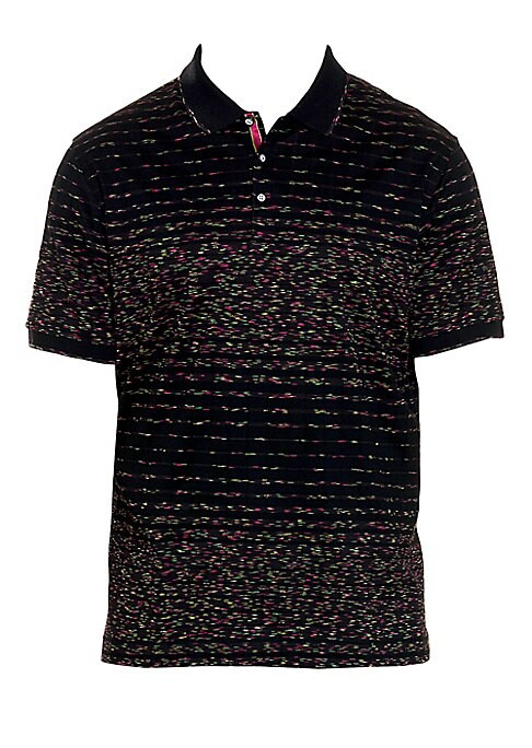"Image of Psychedelic stripes lend dimension to this basic polo. Polo collar. Short sleeves. Rib-knit cuffs. Three-button placket. Cotton. Machine wash. Imported. SIZE & FIT. Classic-fit silhouette. About 29"" from shoulder to hem."