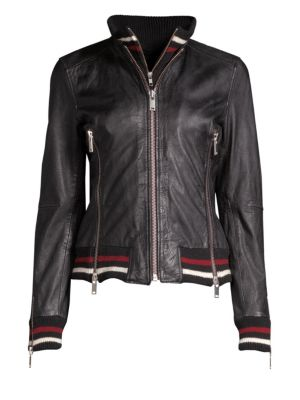DOMA Leather Bomber Jacket in Black