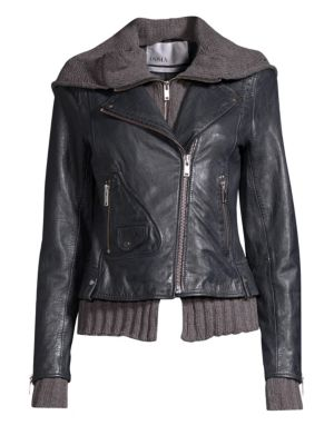 DOMA Leather Moto & Hoodie Jacket in Night Blue