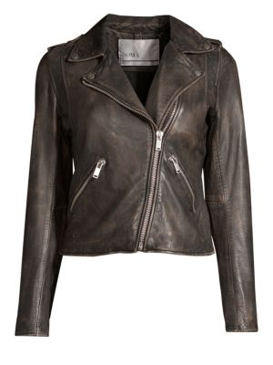 DOMA Washed Leather Moto Jacket in Vintage Black