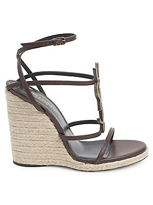 ff49510bec7 Saint Laurent - Cassandra Leather Espadrille Wedge Sandals - saks.com