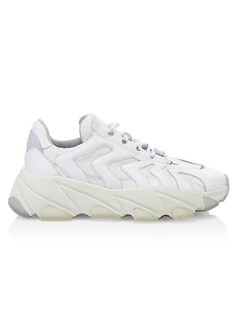 """Image of Minimalist sneakers flaunt woven patches. Leather, textile and polyurethane upper. Round toe. Lace-up vamp. Textile lining. Rubber sole. Imported. SIZE. Platform, 2.7"""" (68.83mm)."""