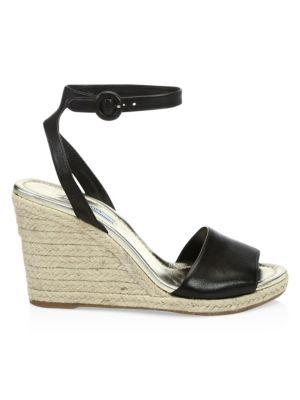 Prada Leather Wedge Espadrille Sandals