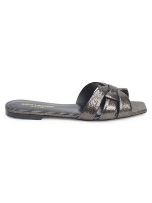 Tribute Metallic Leather Slides by Saint Laurent